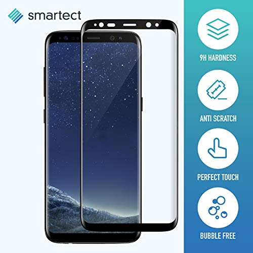 smartect Full Screen Beschermglas compatibel met Samsung Galaxy S8 Plus [3D Curved Casefit] - screen protector met 9H hardheid - bubbelvrije beschermlaag - antivingerafdruk kogelvrije glasfolie